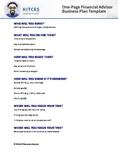 PDF Image Of One Page Financial Advisor Business Plan Template In Word or PDF