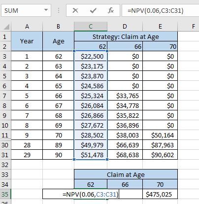 Excel Social Security NPV
