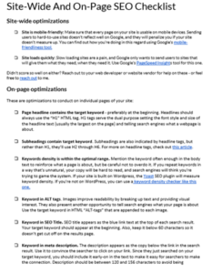 Site-Wide And On-Page SEO Checklist